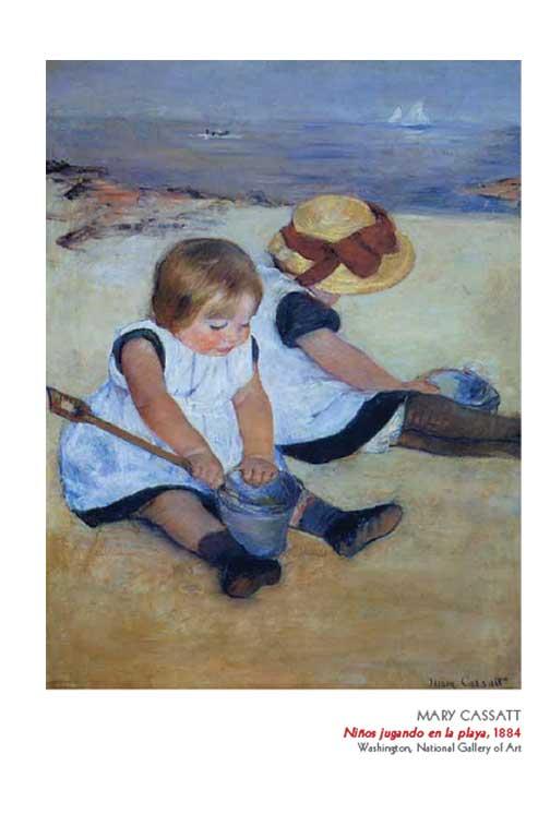 Niños jugando en la Playa – 1884- Ilustración página 89. Olga Márqués
