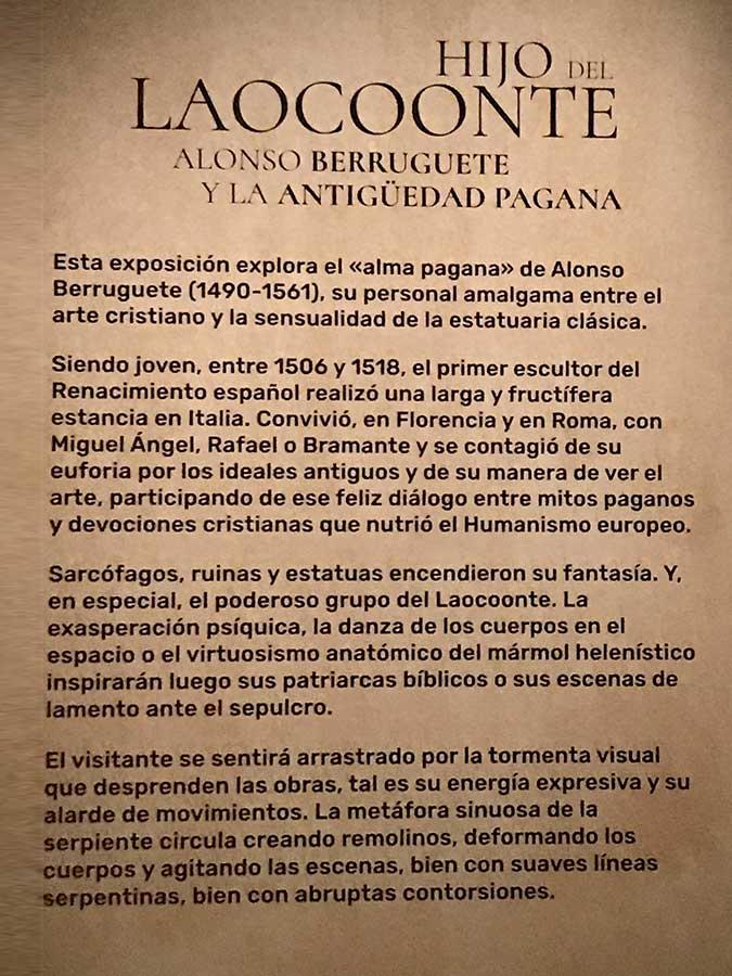 Hijo del Laocoonte. Alonso Berruguete y la Antigüedad pagana. useo Nacional de Escultura