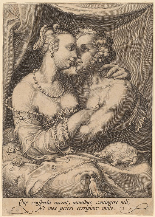 El tacto. Los cinco sentidos. 1595- 1596 Viena, Graphische Sammlung