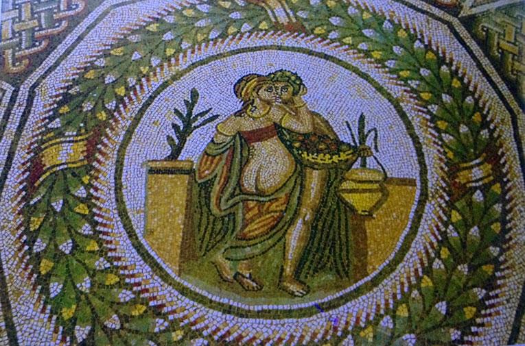 Escena erótica. Mosaico romano, siglo III-IV