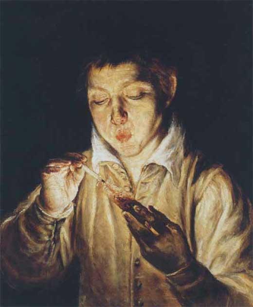 Muchacho encendiendo una candela. El Greco. Receptores Sensoriales. Medicina, Piel y Arte.