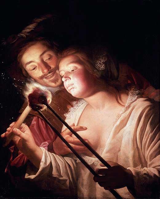 El soldado y la muchacha. Gerard Van Honthorst-520. Receptores Sensoriales. Medicina, Piel y Arte.