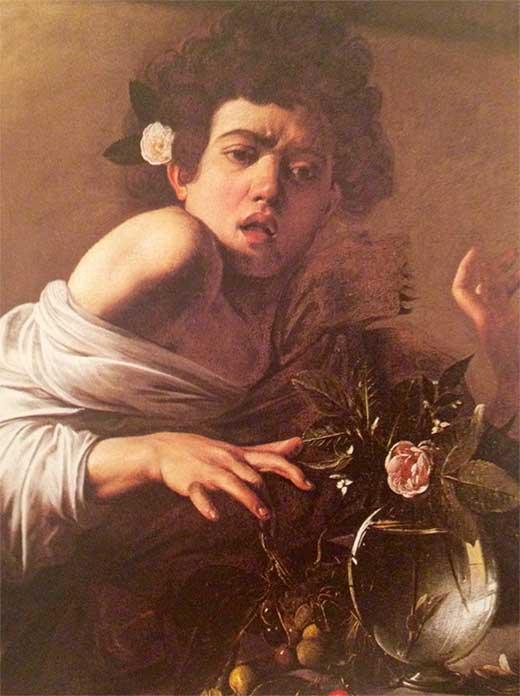 Muchacho mordido por un lagarto. Caravaggio. Medicina Piel y arte. Una sección de Olga Marqués Serrano