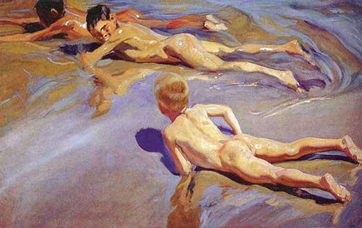 Niños en la playa, 1910. Sorolla. Una sección de Olga Marques