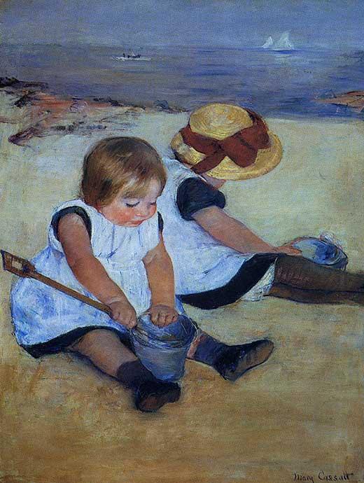 Niños jugando en la playa, 1884. Mary Cassatt. Medicina, piel y arte.