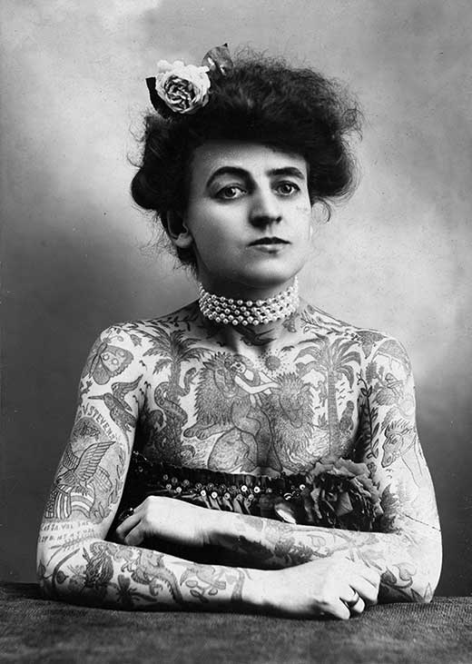 Retrato de mujer con tatuajes. Maud Stevens Wagner. Medicina, piel y arte. Una sección de Olga Marqués