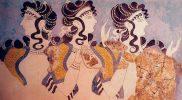 Imagen1. Damas de azul, fresco, hacia 1450 a. C